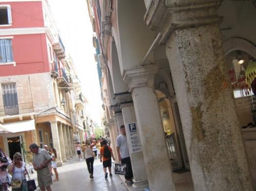 Busy street, Corfu town.