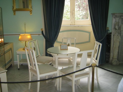 Table and chairs on display.