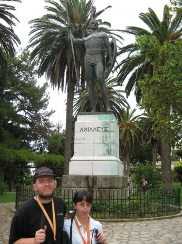 Tony and Tatiana in front of another large statue of Achilles, this time standing triumphant.