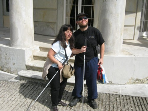 Tony and Tatiana outside the palace.