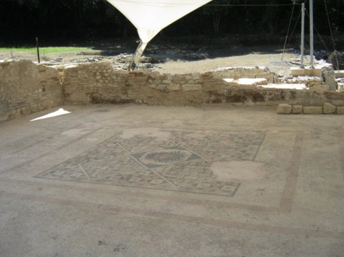 Mosaic floor of the Roman bathhouse.