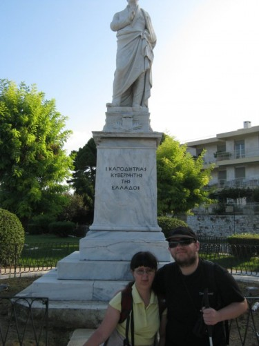 Tony and Tatiana in front of a statue of Ioannis Kapodistrias.