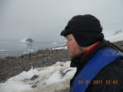 Tony with the Gentoo penguin colony in the near distance.