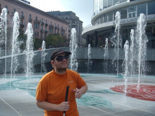 Fountains in front of the Philharmonic Hall.