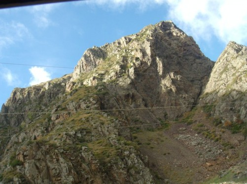 View of rocky mountainous landscape.