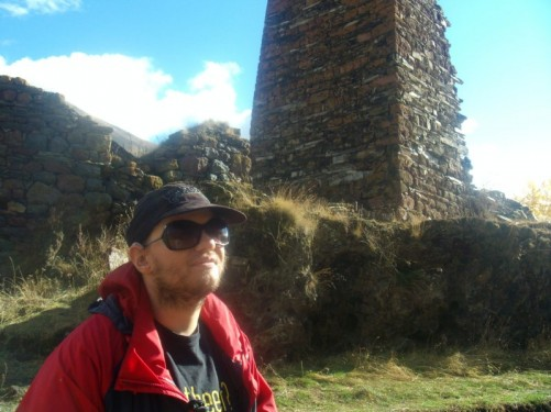 Tony by remains of a watch tower, Tsdo village.