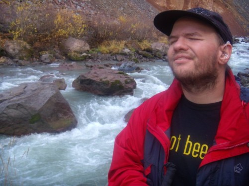 Tony by the fast flowing Tergi River, very cold water containing many minerals.