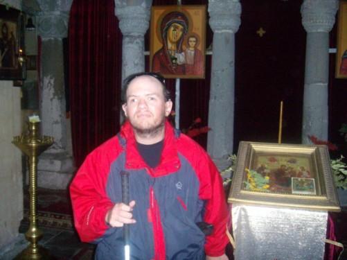 Tony inside the church.