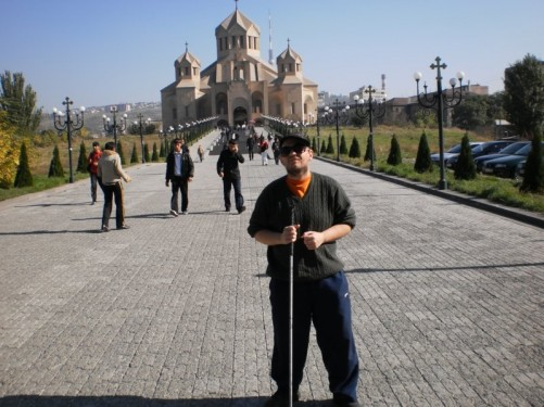 Tony on the walkway to St. Gregory the Illuminator Cathedral.