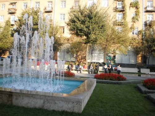 Park and fountains at the bottom of The Cascade, central Yerevan.