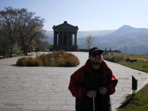 Garni Temple, photo taken from a distance of a Peristyle Greeco-Roman temple in the Ionic order.