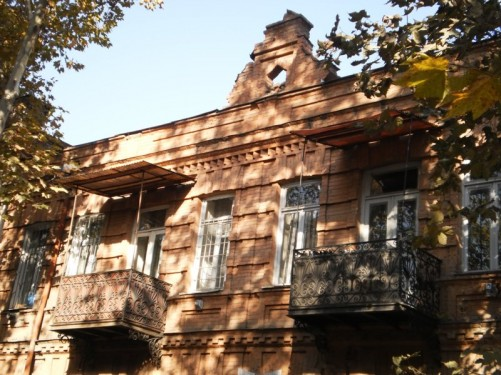 View of balconies and brickwork.