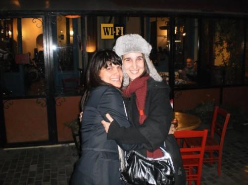 Sandra and Matild from France outside the restaurant.