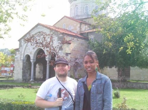 Tony, Tatsinda outside the 13th century Hagia Sophia church in Trabzon city centre.