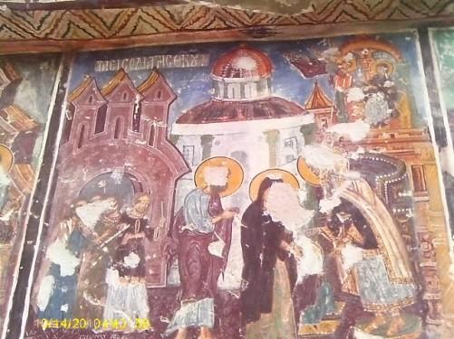 Fresco inside the Rock Church.
