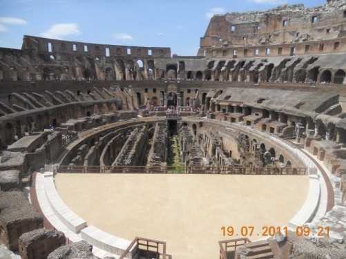 View across the arena area where entertainment and gladiatorial fights occurred.