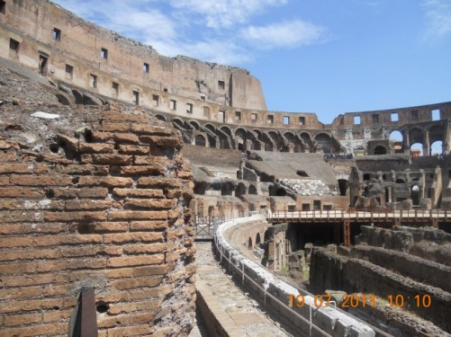 View across the Colosseum interior.