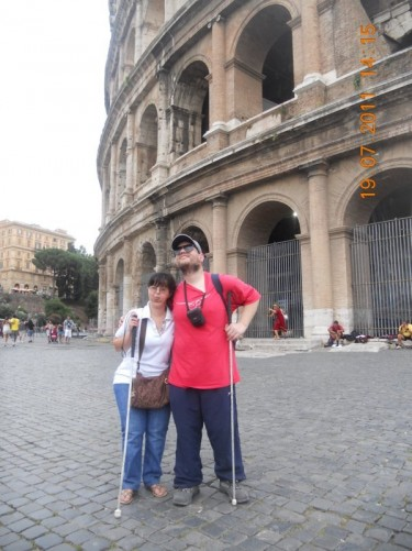Tatiana and Tony outside the Colosseum.