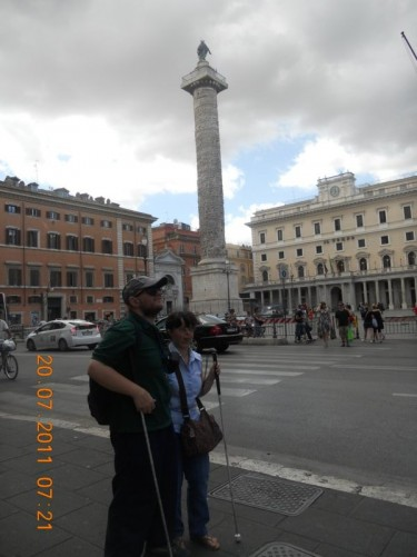 Tony and Tatiana opposite the Column of Marcus Aurelius.