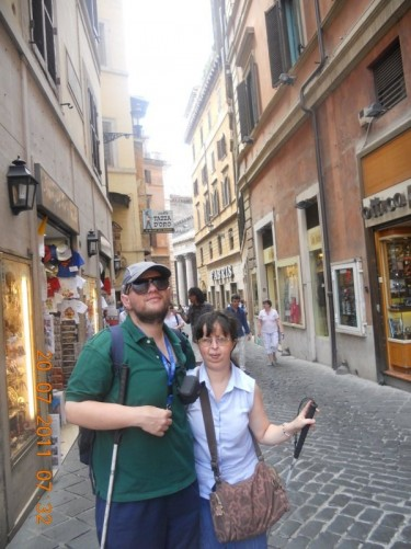 Tony and Tatiana on or near Via del Corso, close to the Pantheon.