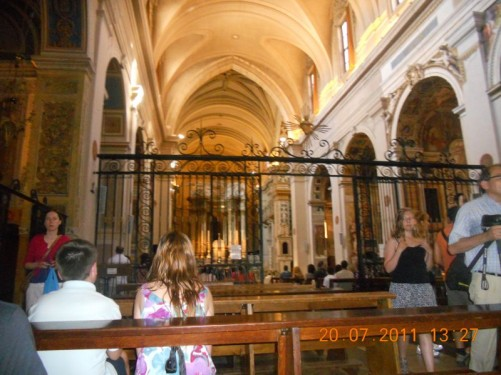 The interior of Trinità dei Monti church.