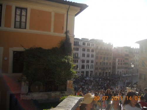 Looking down into Piazza di Spagna.