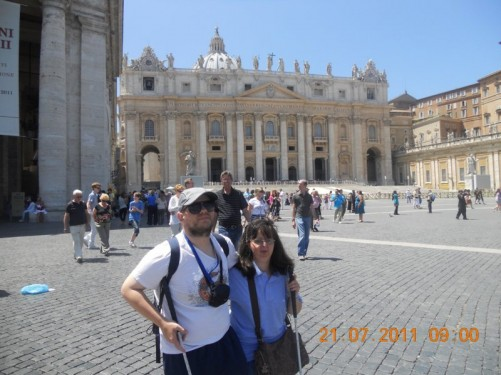 Tony and Tatiana with the basilica behind.