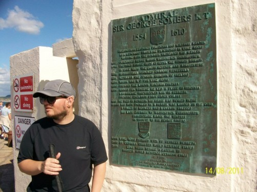 Tony stood by the plaque of Sir George Sumers KT on The Cobb, Lyme Regis.