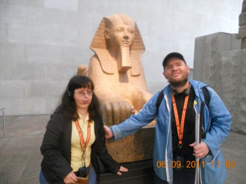 Tony and Tatiana in front of an Egyptian sphinx. The Metropolitan Museum of Art (Met).