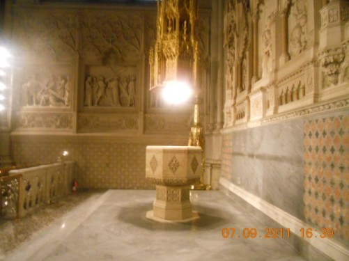 A font inside St. Patrick's Roman Catholic Cathedral.