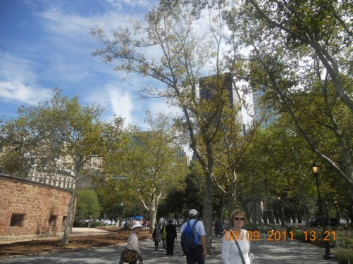 View of Admiral George Dewey Promenade in Battery Park.