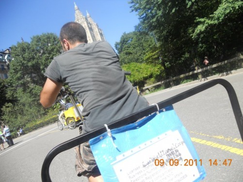 A Pedicab heading up hill towards one of the exits on Central Park West. Tony, Tatiana on the back - a slightly cheaper way to experience the park.