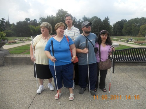 Tony and Tatiana with friends Lora, from Kentucky, Pam and her husband, also named Tony, in Garfield Park-Conservatory and Sunken Garden.