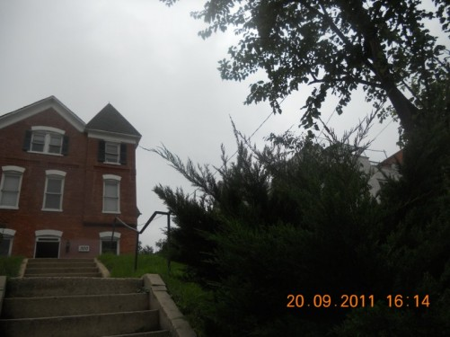 Large steps leading up to Hilltop Hostel.