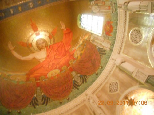 Viewing the Basilica's mosaic covered dome.