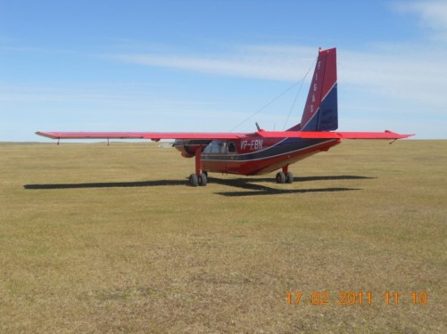 One of the Falkland Islands' air taxis on the airfield at Goose Green.