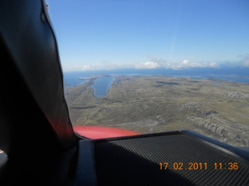 View of the landscape and coast from the air taxi.