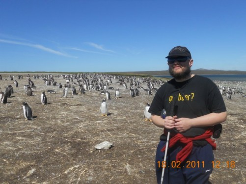Tony at the Gentoo Penguin colony.