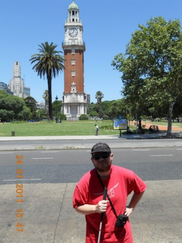 Tony in front of the Torre  Monumental, formerly  Torre de los Ingleses (Tower of the English). A clock tower located in the Retiro barrio (district).