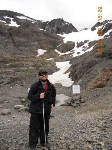 Tony at the foot of the glacier.