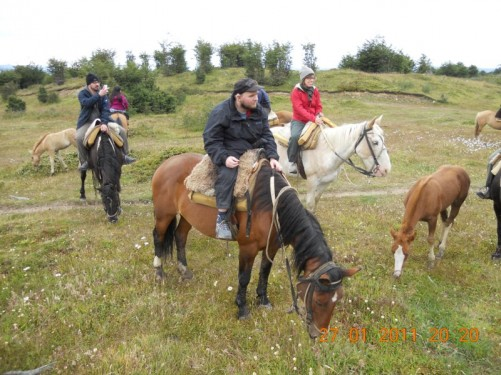 Tony on horseback with the other riders taking part in the excursion.
