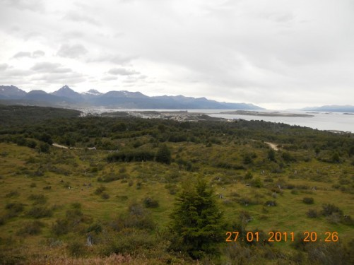 View of the exposed landscape around Ushuaia - mostly grass and shrubs.