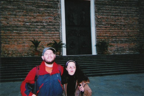 Tony and Tatiana outside the Basilica of Santa Giustina.