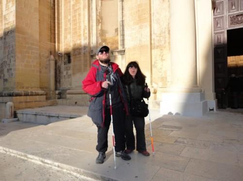 Tony and Tatiana outside St John's Co-Cathedral.