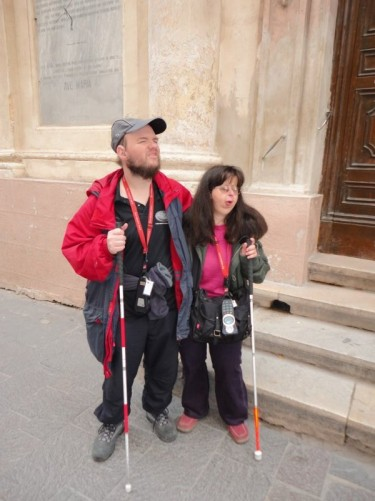 Tony and Tatiana outside the Church of St. Barbara.