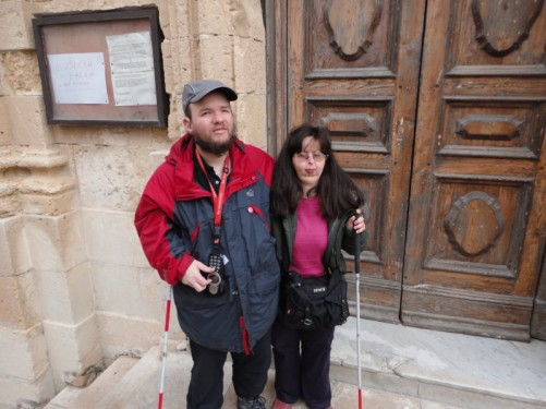 Tony and Tatiana outside Our Lady of Victory Church.
