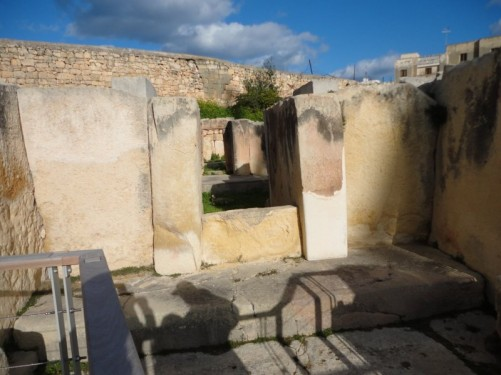 Looking through a series of excavated rooms within the Tarxien temples complex.