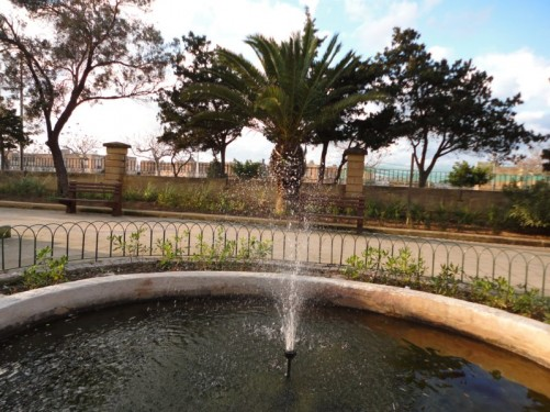A water feature and fountain, Maglio Gardens, Floriana.