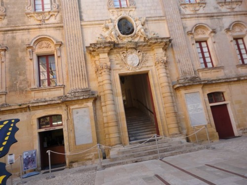Courtyard outside the main entrance to the Vilhena Palace, now the National Museum of Natural History. Mdina.
