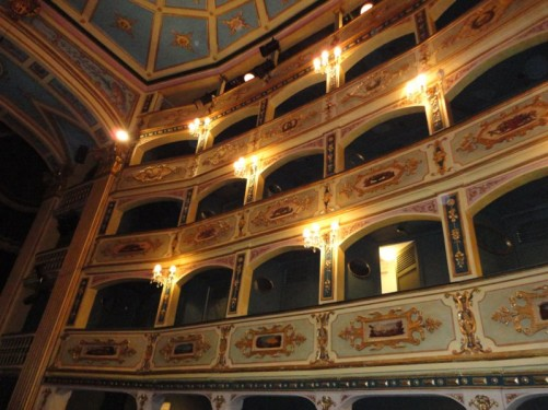 Looking up at rows of gilded boxes inside the theatre. The theatre was commissioned by Grand Master Antonio Manoel de Vilhena in 1731.
